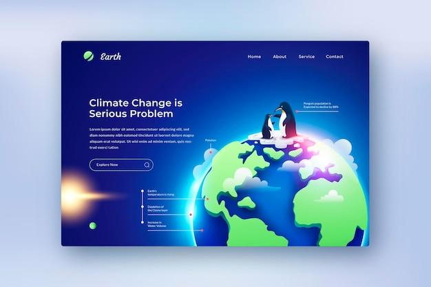 Modèle de page de destination de changement climatique dégradé