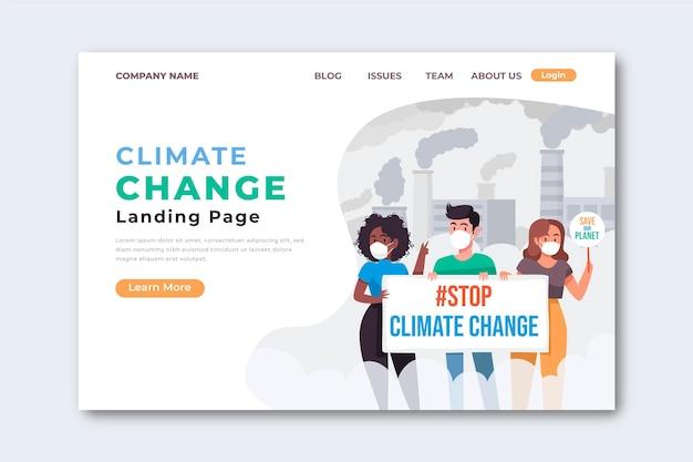 Modèle de page de destination sur le changement climatique dessiné à la main