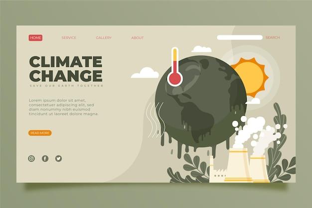 Modèle de page de destination de changement climatique plat dessiné à la main