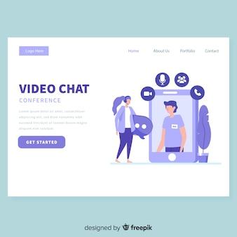 Modèle de page de destination de chat vidéo