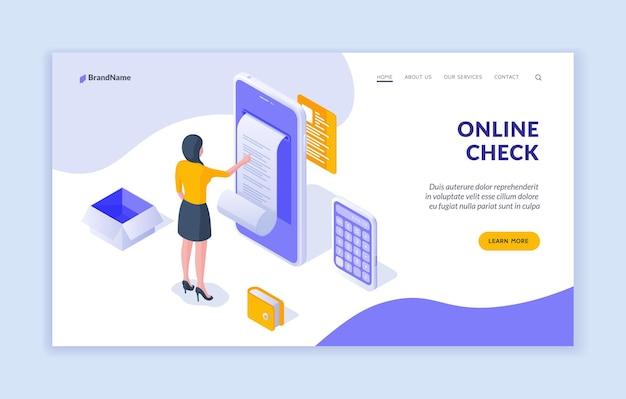 Modèle de page de destination de chèque en ligne