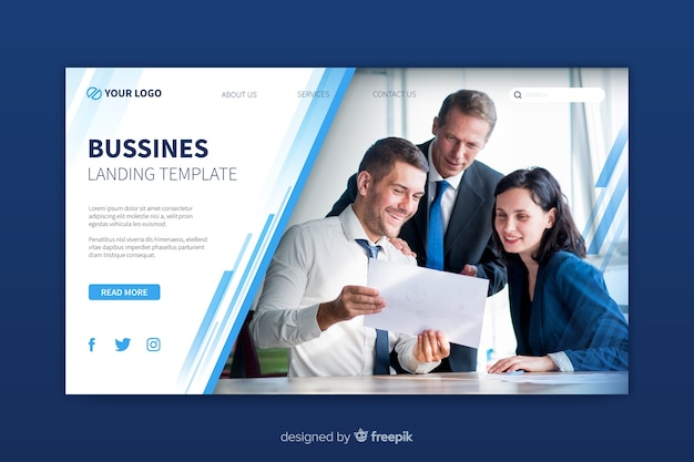 Modèle de page de destination commerciale avec photo