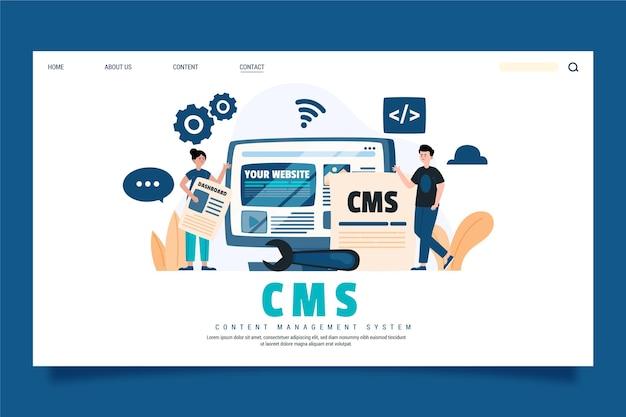 Modèle de page de destination de concept cms dessiné à la main