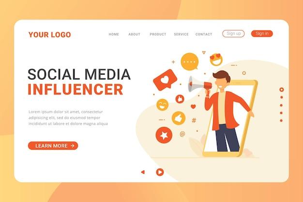 Modèle de page de destination concept de conception d'influenceur de médias sociaux
