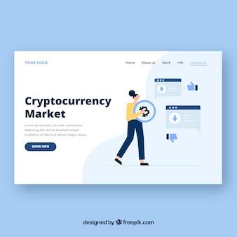 Modèle de page de destination avec concept de cryptocurrency