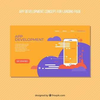 Modèle de page de destination avec le concept de développement de l'application