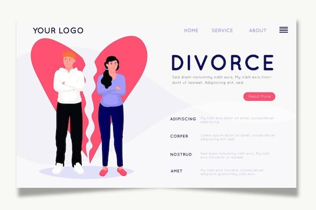 Modèle de page de destination de concept de divorce