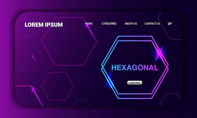 Modèle de page de destination de concept hexagonal