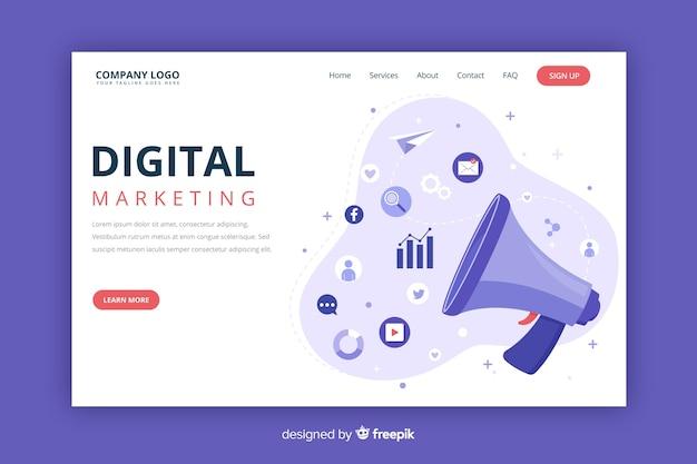 Modèle de page de destination de concept marketing