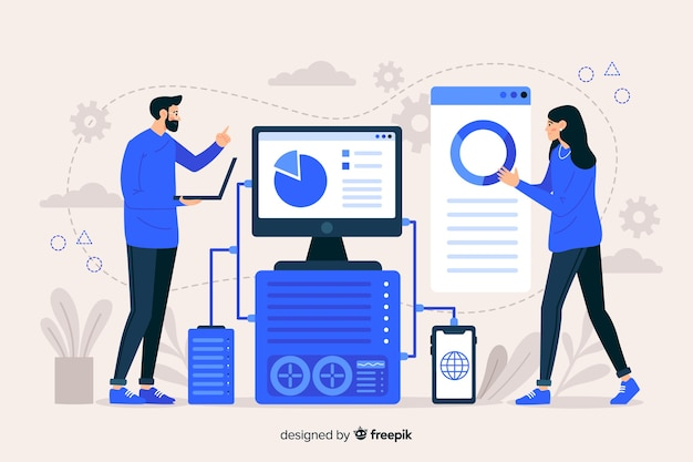 Modèle de page de destination de concept technologique