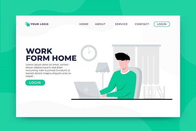 Modèle de page de destination de concept de travail à domicile