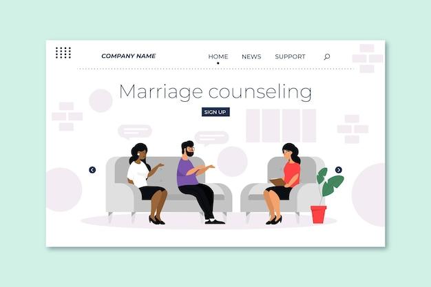 Modèle de page de destination de conseil en mariage