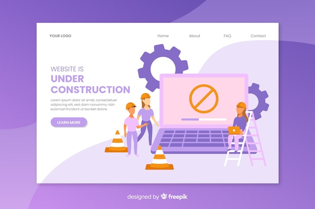 Modèle de page de destination en construction