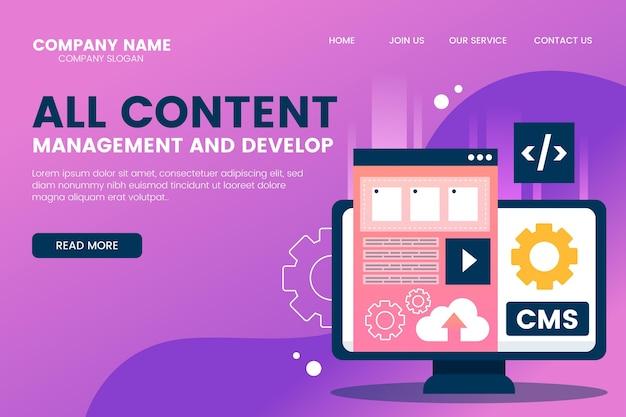 Modèle de page de destination de contenu cms plat