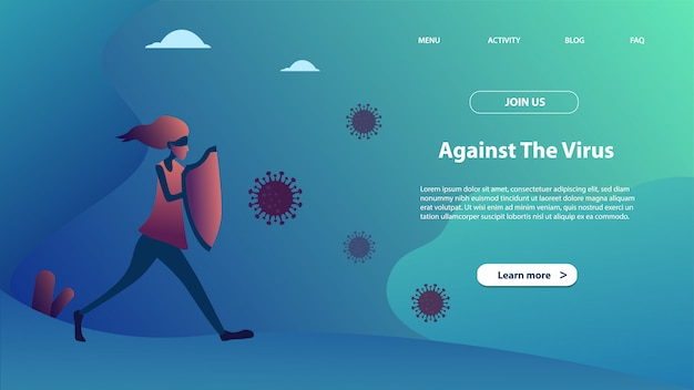 Modèle de page de destination de contre le virus. concept de design plat moderne de conception de pages web pour site web et site web mobile.