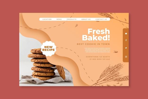 Modèle de page de destination de cookies cuits au four