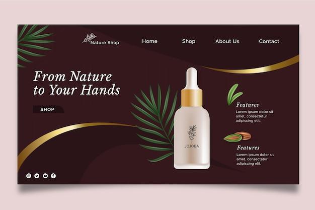 Modèle de page de destination cosmétique d'huile de beauté