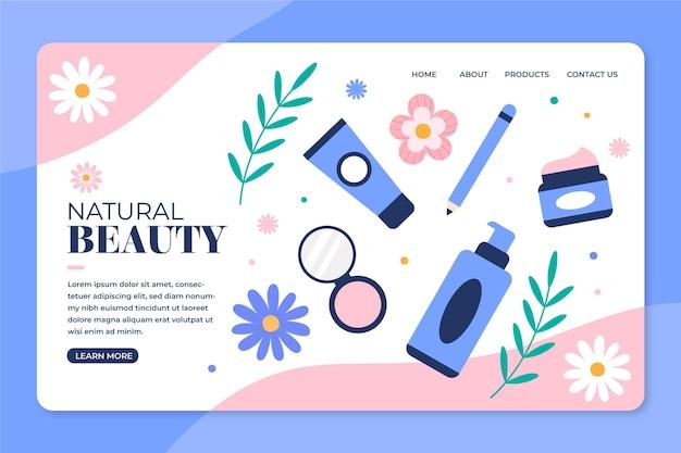 Modèle de page de destination de cosmétiques nature