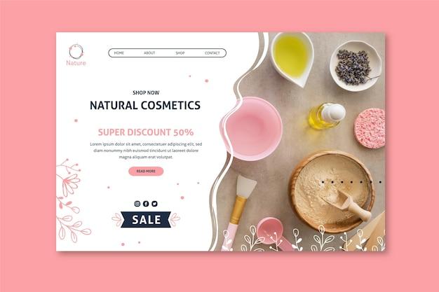 Modèle de page de destination de cosmétiques naturels essence originale