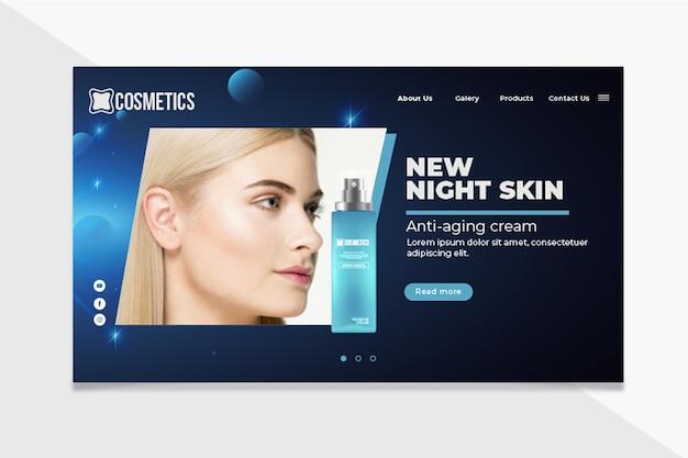 Modèle de page de destination de cosmétiques pour le visage de beauté
