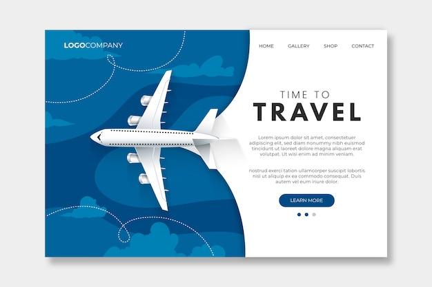 Modèle de page de destination couleur du voyage de l'année 2020