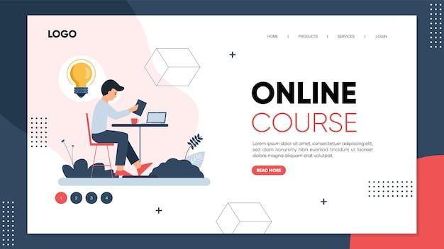 Modèle de page de destination de cours en ligne ou de concept d'apprentissage en ligne