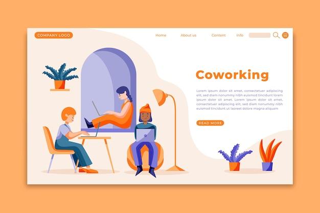 Modèle de page de destination de coworking dessiné à la main