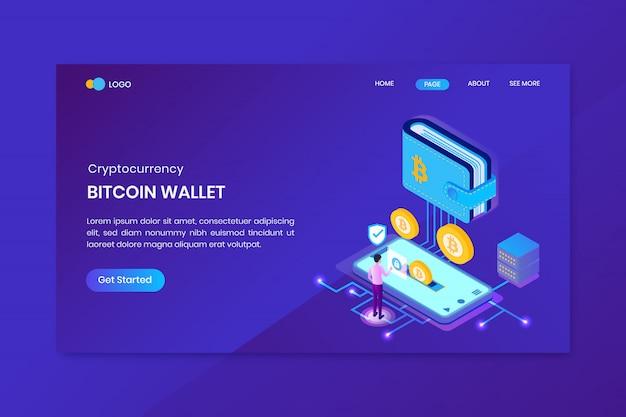 Modèle de page de destination de la crypto-monnaie du portefeuille bitcoin
