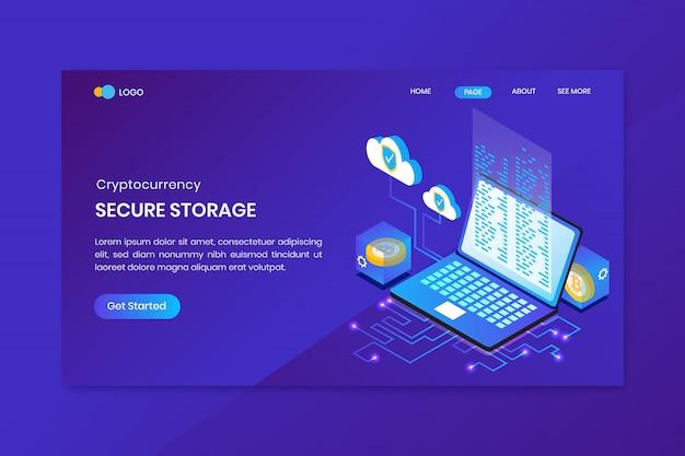 Modèle de page de destination de crypto-monnaie de stockage sécurisé