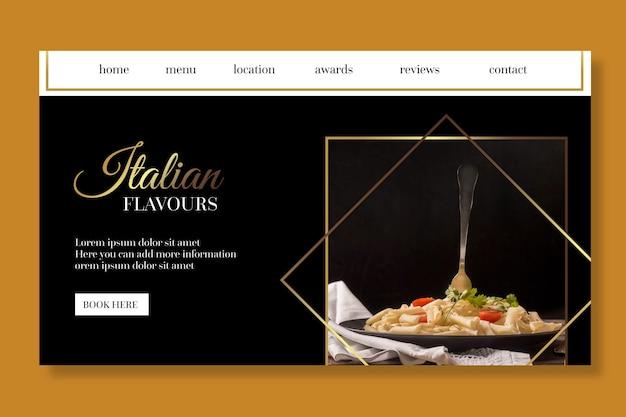 Modèle de page de destination de cuisine italienne de luxe