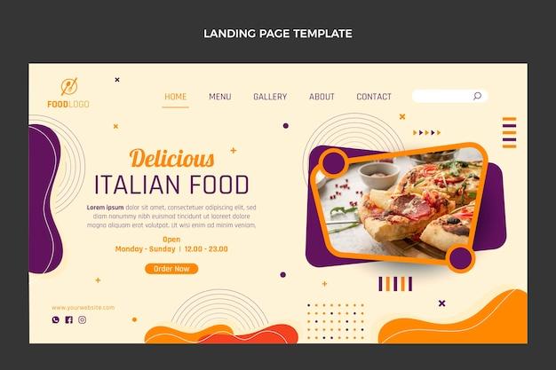 Modèle de page de destination de cuisine italienne plate
