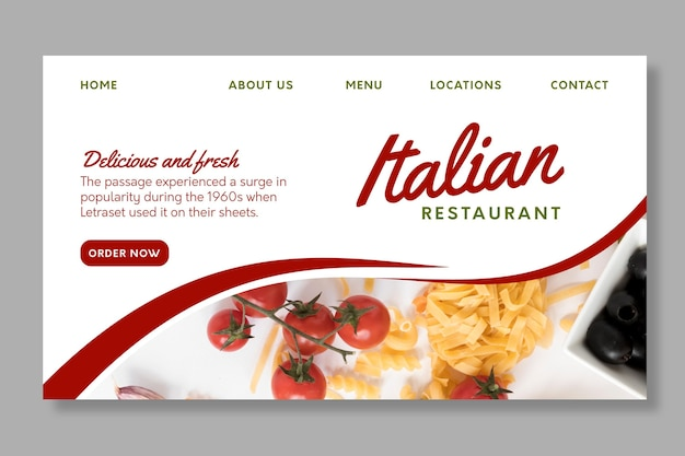Modèle de page de destination de la cuisine italienne