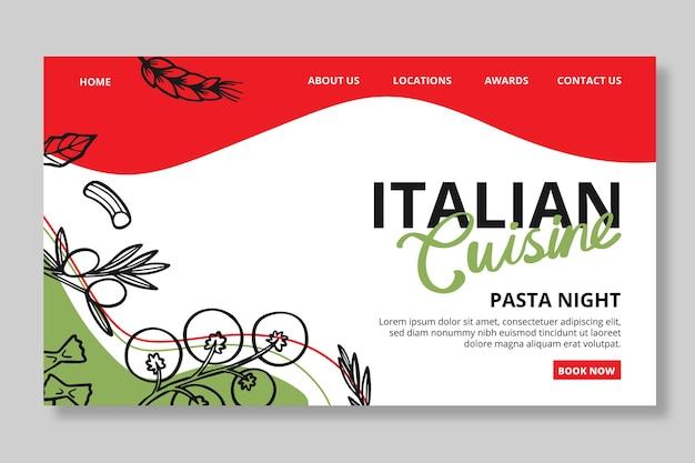 Modèle de page de destination de cuisine italienne