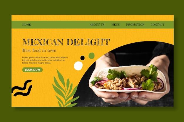 Modèle de page de destination de la cuisine mexicaine