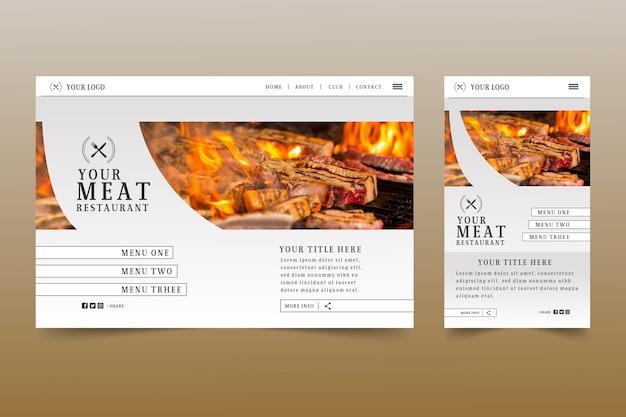 Modèle de page de destination de cuisine avec photo