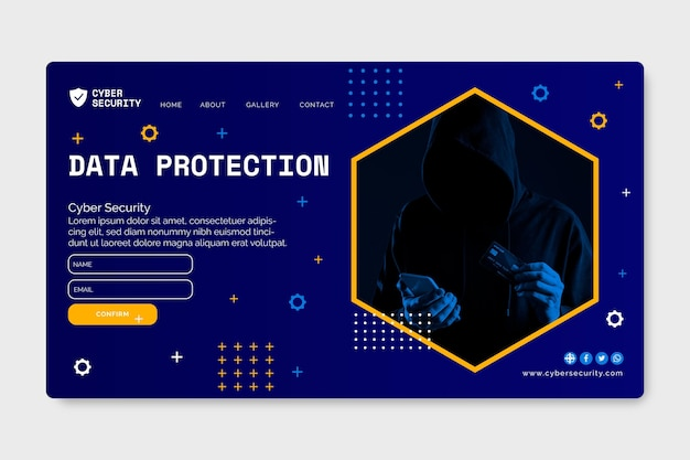 Modèle de page de destination de cybersécurité