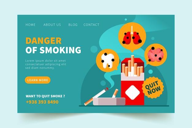 Modèle de page de destination sur le danger de fumer