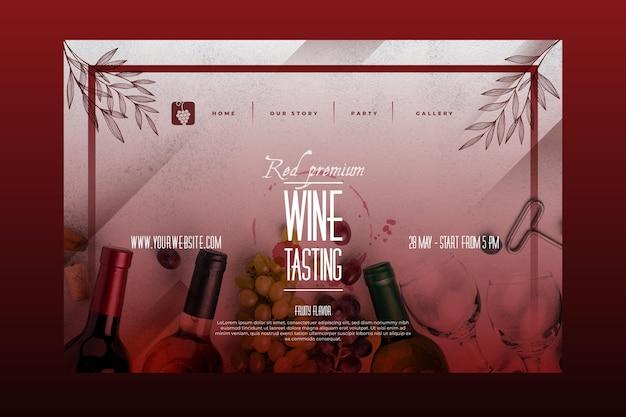 Modèle de page de destination de dégustation de vin