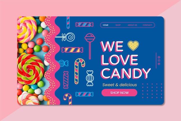 Modèle de page de destination de délicieux bonbons