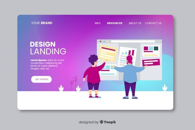 Modèle de page de destination design plat