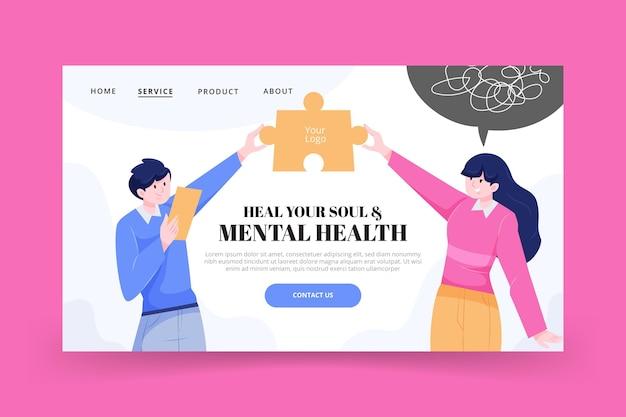 Modèle de page de destination détaillée sur la santé mentale
