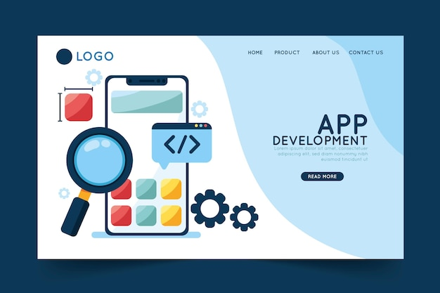 Modèle de page de destination de développement d'application