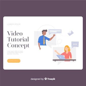 Modèle de page de destination de didacticiel vidéo