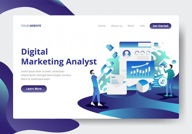 Modèle de page de destination de digital marketing analyst