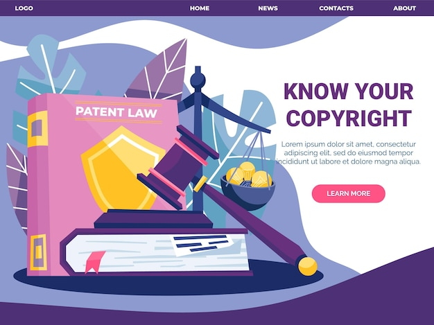 Modèle de page de destination de droit d'auteur illustré