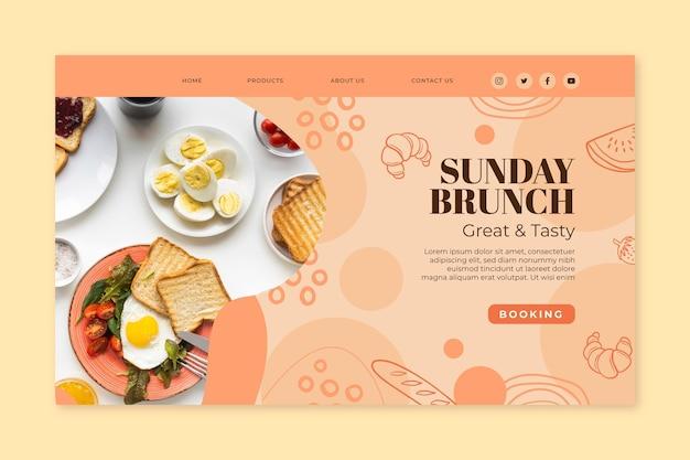 Modèle de page de destination du brunch du dimanche