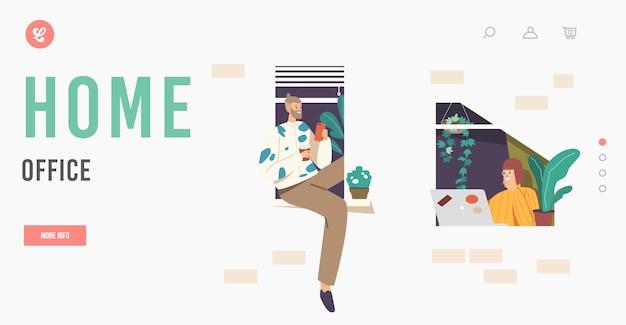 Modèle de page de destination du bureau à domicile. travail indépendant à distance, personnages indépendants homme et femme assis à la fenêtre travaillant à distance de la maison à l'aide d'un ordinateur portable et d'un téléphone portable. illustration vectorielle de gens de dessin animé