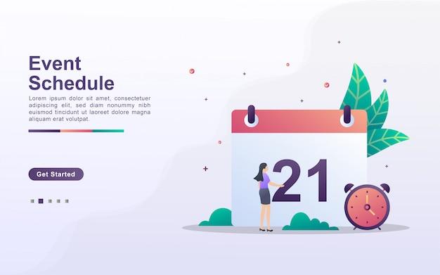 Modèle de page de destination du calendrier des événements dans un style d'effet dégradé