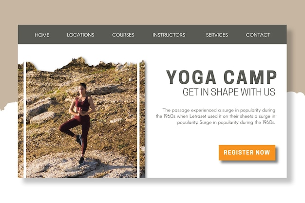 Modèle de page de destination du camp de yoga