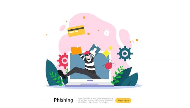 Modèle de page de destination du concept d'attaque de phishing par mot de passe
